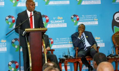 L – R: Tony O. Elumelu, CON, Founder of the Tony Elumelu Foundation and Chairman, Heirs Holdings and UBA Group; H.E. Uhuru Kenyatta, President of Kenya; at the 9th ACP Business Summit in Kenya on December 8, 2019 as Elumelu Presents the Keynote Speech