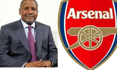 Aliko Dangote and Arsenal crest