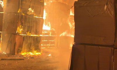 Fire burning properties in Amu Timber market in Mushin