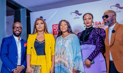 l-r: Executive Director, Urban Vision Akins Akinkugbe; Actress, Tana Adelana; Chief Executive Officer, Ebony Life, Mo Abudu; Actress, Osas Ighodaro; Executive Producer/CEO, Urban Vision, Tola Odunsi, during the Premiere of REDTV Series, Assistant Madams in Lagos yesterday