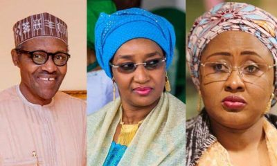 Photo Collage of President Buhari, Sadiya Faruq and Aisha Buhari