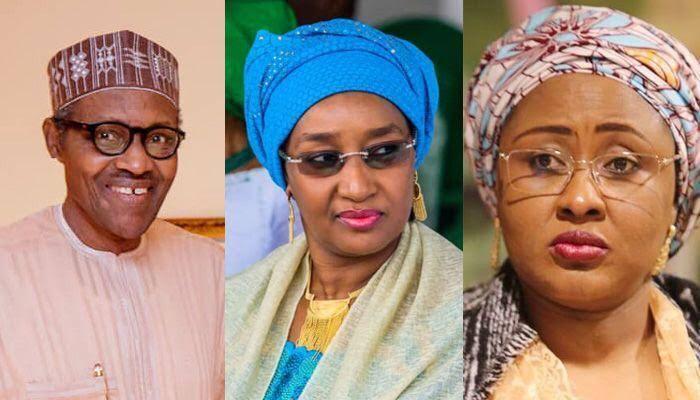 Photo Collage of President Buhari, Sadiya Faruq and Aisha Buhari