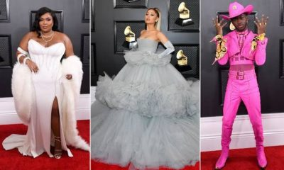 Grammy awards red carpet photo collage of Lizzo, Ariana Grande and Lil Nas X