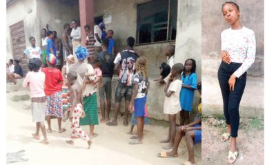 Crowd in front of the house of the igbo girl beaten to death by her parents