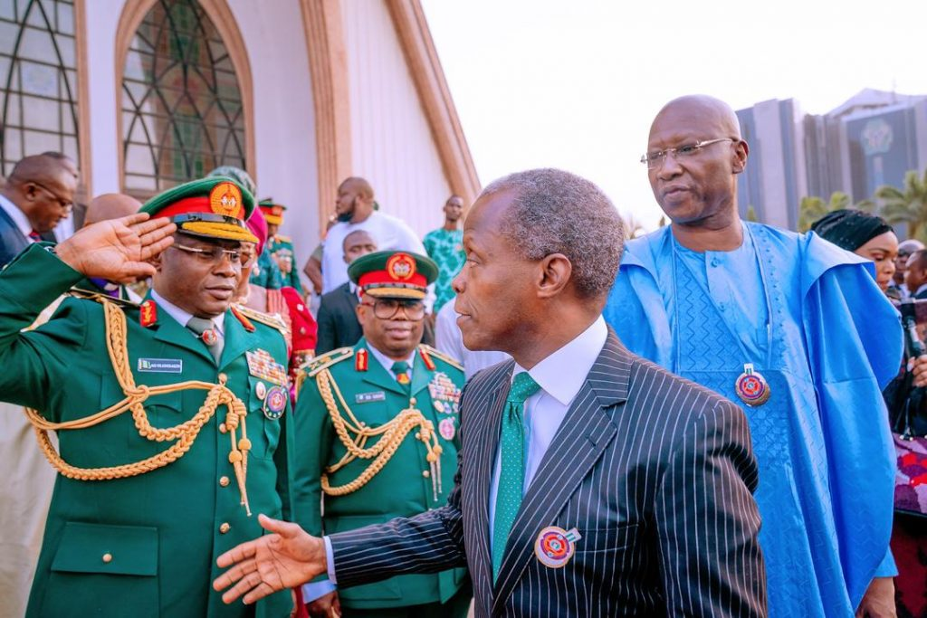 Vice President, Yemi Osinbajo during interdenominational service held in honor of fallen soldiers