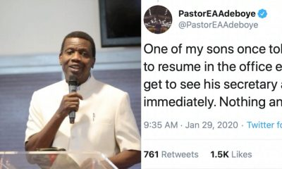 Twitter Users React After Pastor Adeboye Revealed Why He Asked One Of His Son's To Sack His Secretary