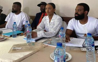 Kunle Afolayan, Temi Otedola and Gabriel Afolyan during press release of Citation movie