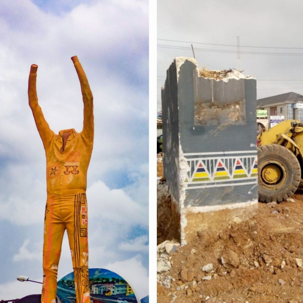 Fela's statue before and after demolition