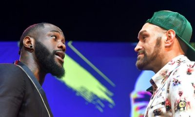Deontay Wilder and Tyson Fury during a press conference held for February 22 rematch