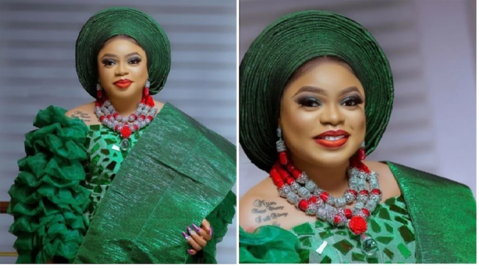 Bobrisky dressed as a Yoruba bride