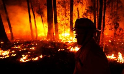 Firefighters monitoring fires between the towns of Orbost and Lakes Entrance in east Gipplsland in Australia