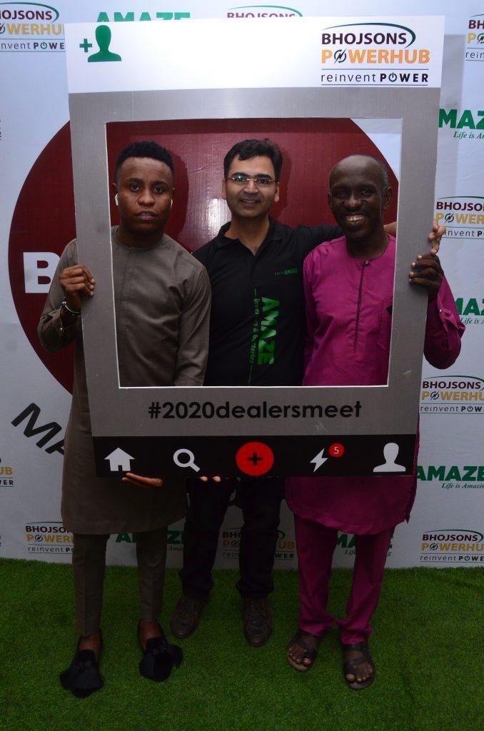 AMAZ 2 & 3 L-R: Vice President, International Business, Schneider Electric, Aditya Bhargava; Chairman, Bhojsons Plc, Mr Deepak Dalamal; Ex-Big Brother Naija Celebrity Housemate, Tobi Bakre;  Group Managing Director, Bhojsons Plc, Vishant Dalamal and Business Unit Head, Bhojsons Powerhub, Rajneesh Gupta during the launch of Amaze Power Back-Up solution at the 2020 Dealers' Meet held in Lagos on Friday.