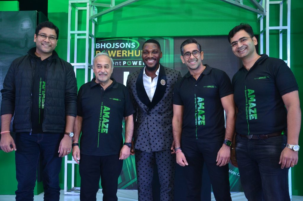 AMAZ 2 & 3 L-R: Vice President, International Business, Schneider Electric, Aditya Bhargava; Chairman, Bhojsons Plc, Mr Deepak Dalamal; Ex-Big Brother Naija Celebrity Housemate, Tobi Bakre;  Group Managing Director, Bhojsons Plc, Vishant Dalamal and Business Unit Head, Bhojsons Powerhub, Rajneesh Gupta during the launch of Amaze Power Back-Up solution at the 2020 Dealers' Meet held in Lagos on Friday.