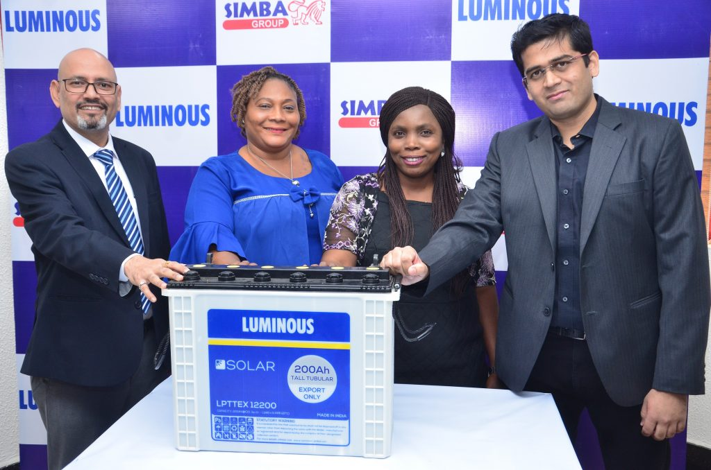 L-R: Business Head, Power Product Division, Simba Group, Ravi Srivastava; Sales Executive, Simba Group, Mrs. Helen Odiakosa; another sales executive, Mrs. Maureen Arorote and Group Head, Marketing, Simba Group, Karthik Govindarajan during the launch of Luminous Solar Tall Tubular Batteries held in Lagos today.
