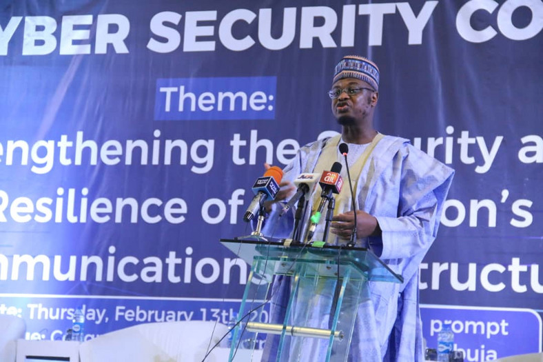 Minister of Communications and Digital Economy, Dr. Isa Ali Ibrahim Pantami at the Annual Cyber Security Conference organised by the Nigerian Communications Commission (NCC) at the Transcorp Hilton Hotel, Abuja.