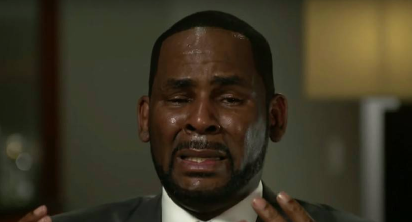 "R. Kelly in tears during an interview with Gayle King of CBS This Morning in 2019 after the release of the ""Surviving R. Kelly"" docu-series"