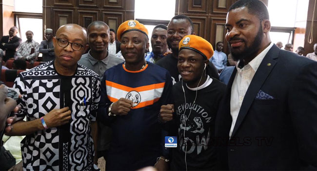 Former Chairman of the National Human Rights Commission (NHRC), Professor Chidi Odinkalu and popular activist Deji Adeyanju with Sowore and Bakare at the Federal High Court in Abuja on Wednesday. PHOTO: Channels TV/Sodiq Adelakun.