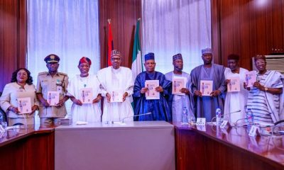 President Buhari with L-R: Perm. Sec. Interior Barr. Georgina Ehuriah, Comptroller General of Nigerian Immigration Service Mohammed Babandede, Minister of Interior Ogbeni Rauf Aregbesola, Chairman Senate Committee on Interior Senator Kashim Shettima, Chairman House Committee on Interior Hon. Nasir Daura, SGF Boss Mustapha, COS Abba Kyari and Minister of Information Lai Mohammed as he officially presents to the Public, The Nigeria Visa Policy (NVP) 2020 in State House on 4th Feb 2020 Read more at: https://www.vanguardngr.com/2020/02/breaking-buhari-officially-presents-to-public-nigeria-visa-policy-photos/