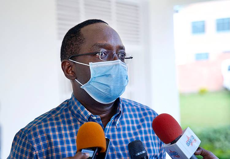 Dr Ngamije speaks to media after the launch of the use of robots at Kanyinya COVID-19 Treatment Centre on Tuesday, May 19. Photos: Gad Nshimiyimana
