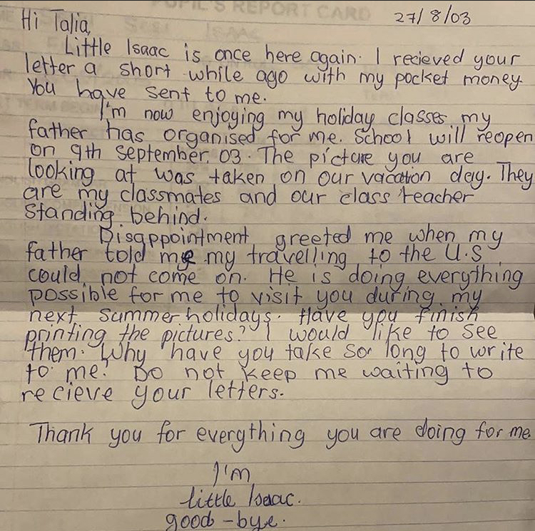 Isaac Sesi's letter addressed to Talia acknowledging her previously sent letter and some money she sent to him