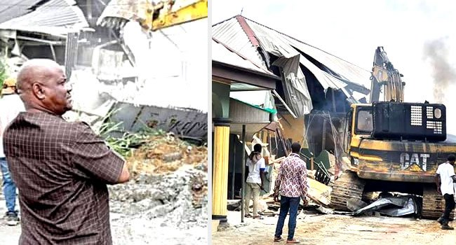 Governor Wike at the demolition site