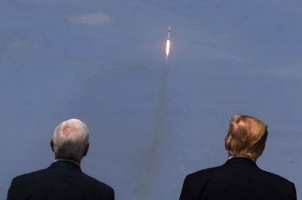 US President Donald Trump and the Vice President, Mike Pence watching the launch of the spaceship