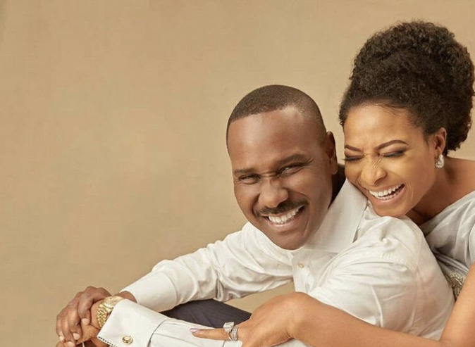 Ibidunni Ighodalo and her husband, Ituah during their 13th year wedding anniversary in 2020.