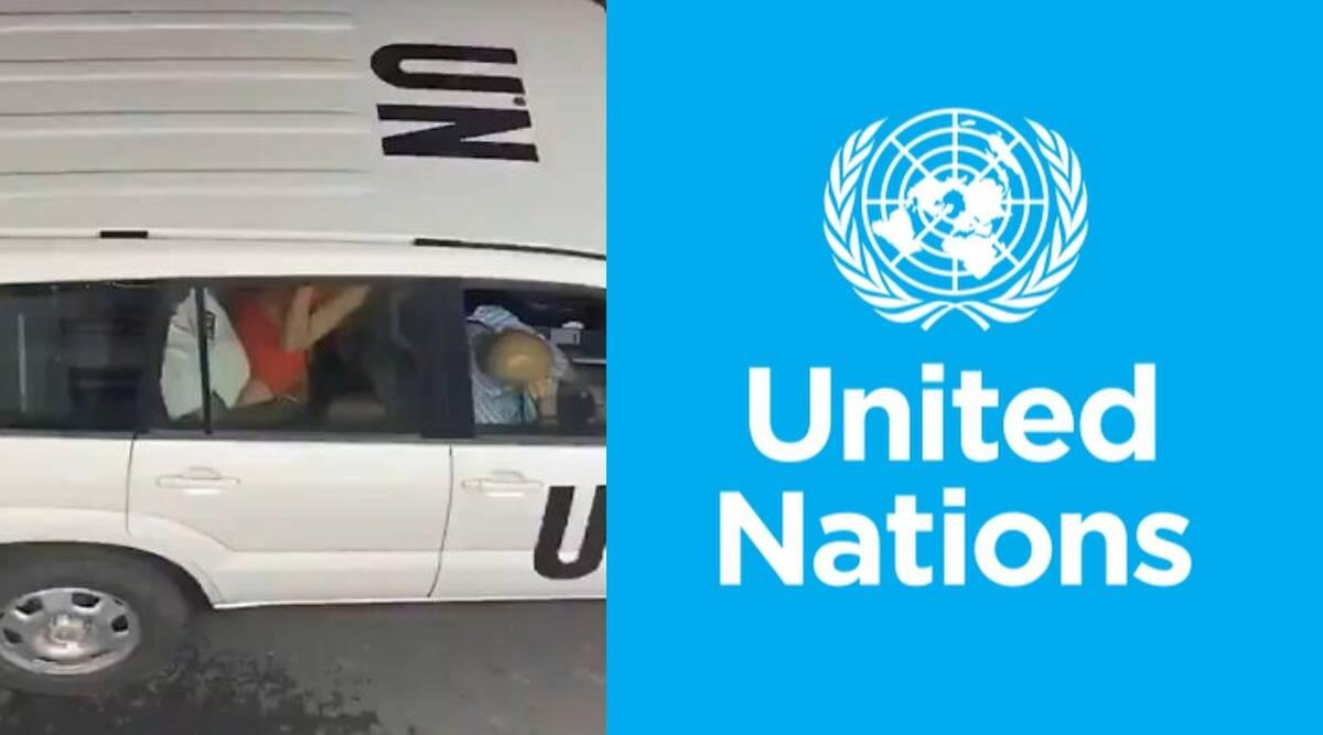 Couple having sex in UN official car
