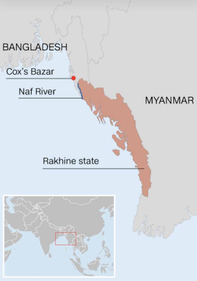 Part of Myanmar map