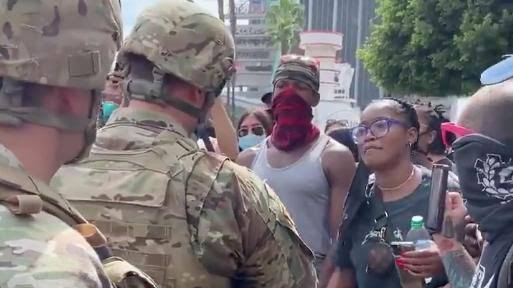 Keke Palmer speaking to US National Guard to join BLM protesters