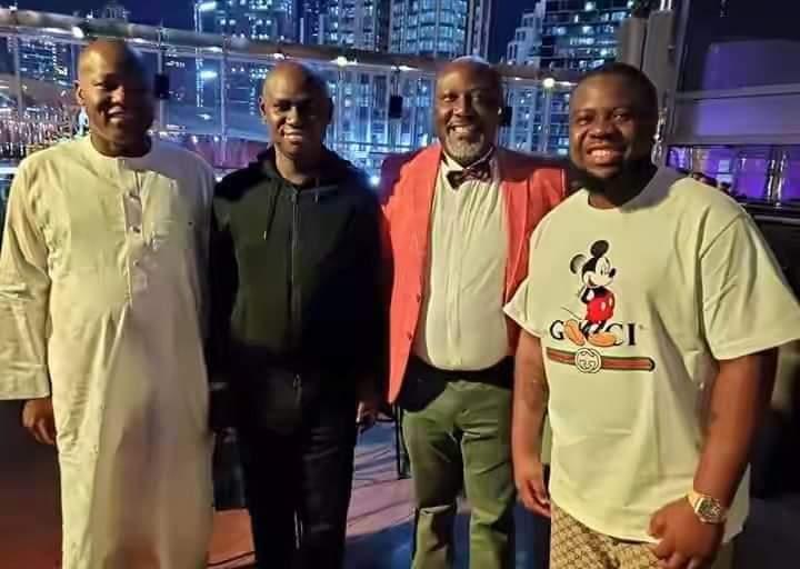L-R, Dogara, Timi Frank, Dino Melaye and Hushpuppi in Dubai