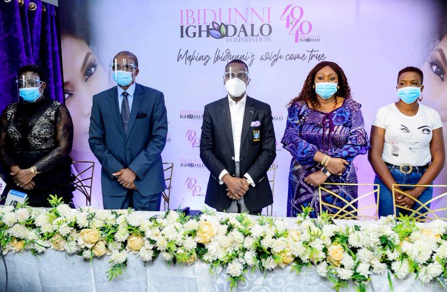 L-R: Mrs. Bola Okolie, Board Member, Ibidunni Ighodalo Foundation; Dr. Ade Adeyemi-Bero, Board Member, Ibidunni Ighodalo Foundation; Pastor Ituah Ighodalo, Chairman, Ibidunni Ighodalo Foundation; Mrs. Tosin Adefeko, Managing Partner, AT3 Resources; and Mrs. Adedayo Richards, Executive Secretary, Ibidunni Ighodalo Foundation at the official launch of Project 40at40 by Ibidunni Ighodalo Foundation in honour of its founder.