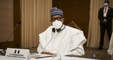 Nigeria's President Muhammadu Buhari is seen after a meeting in Bamako on July 23, 2020 as West African leaders gather in a fresh push to end an escalating political crisis in the fragile state of Mali. (Photo by MICHELE CATTANI / AFP)