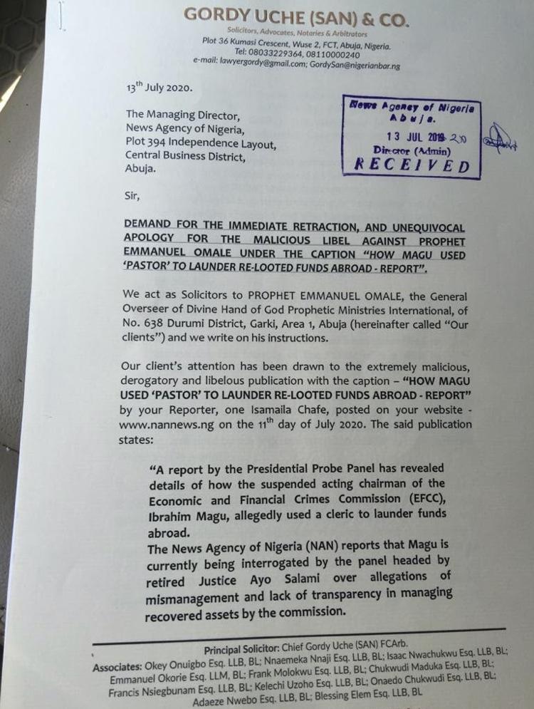 Pastor Omale denies laundering money for embattled Magu