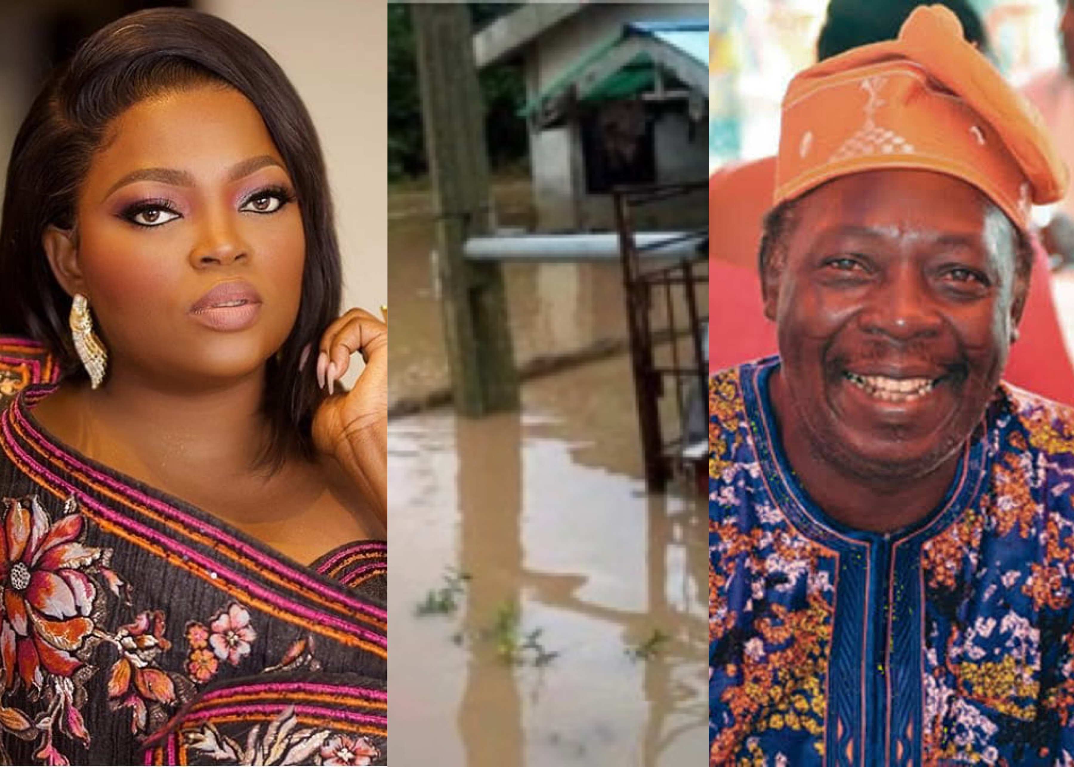 Funke Akindele allegedly gifts Pa Ajirebi new home after flood took over former house