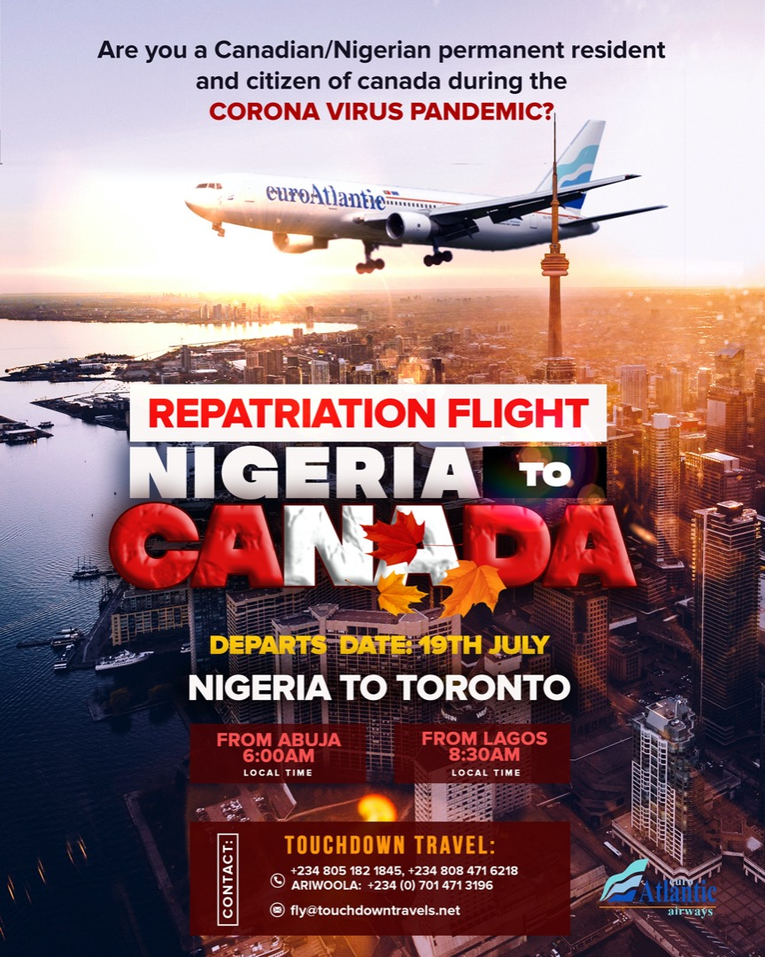 Repatriation flight from Nigerian to Canada