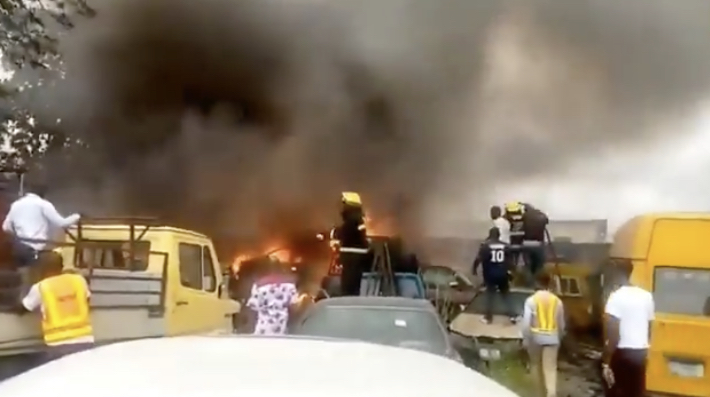 Fire Outbreak In LASTMA Yard Guts 11 Impounded Vehicles