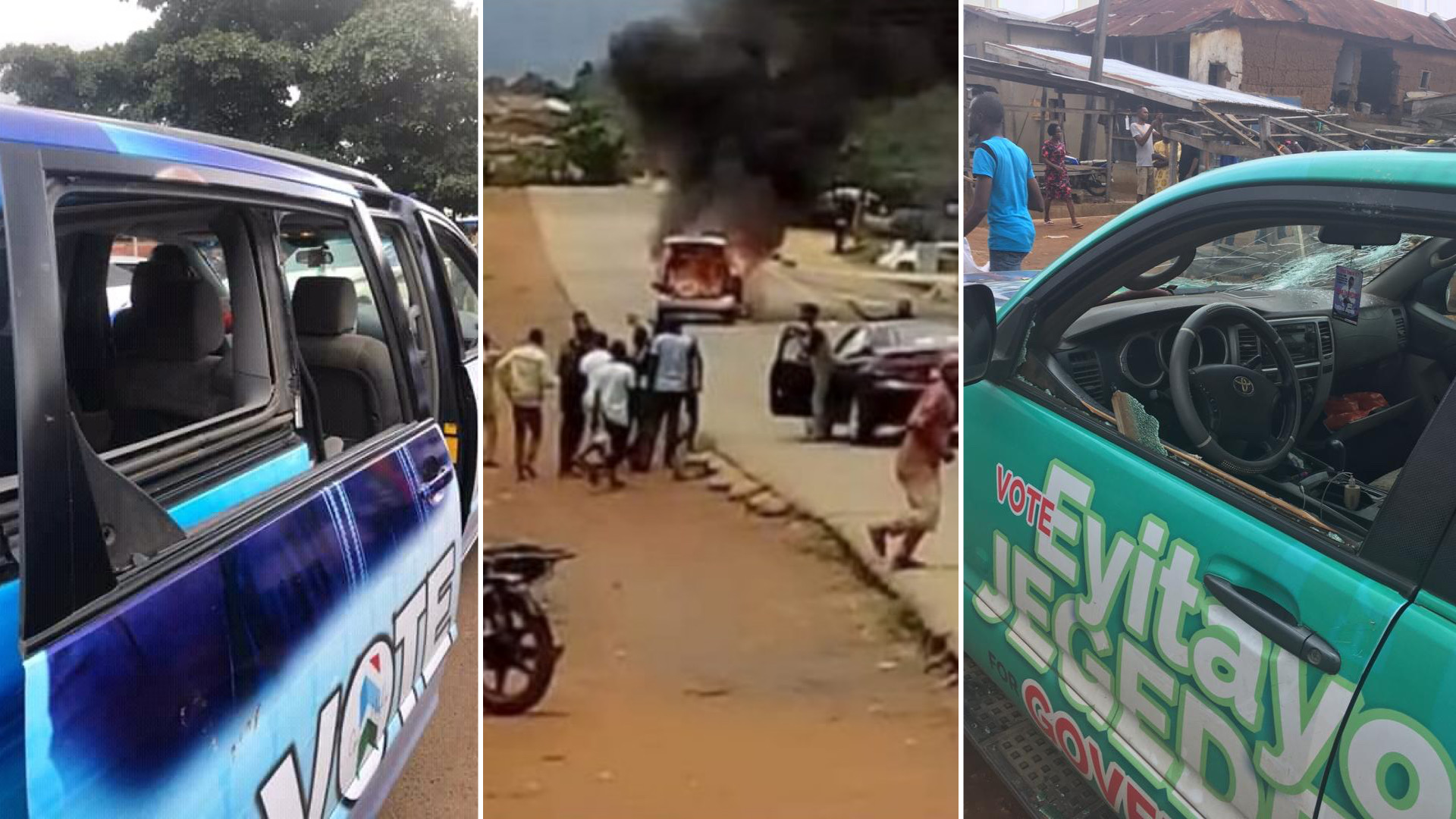 Ondo Poll: Five Injured, Vehicles Damaged As Akeredolu, Jegede Supporters Clash