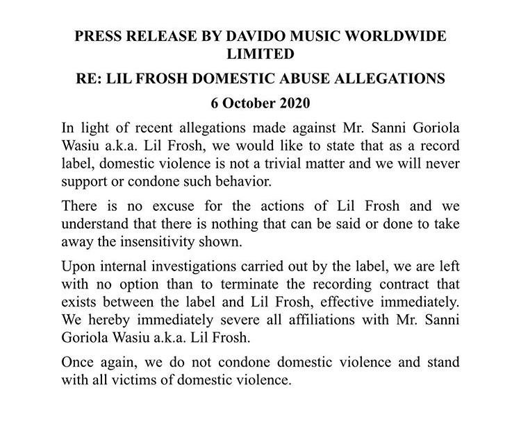 Davido Terminates Contract Of DMW Artiste, Lil Frosh Over Allegations Of Brutally Assaulting Girlfriend