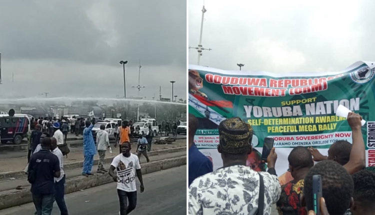 Police Disperse Yoruba Nation Agitators At Ojota With Water Cannon