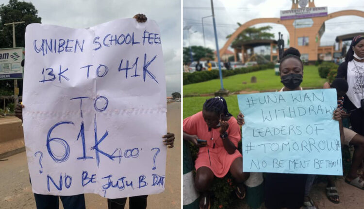 UNIBEN Students Protest N20,000 Late Registration Fee, Admission Forfeiture Threat